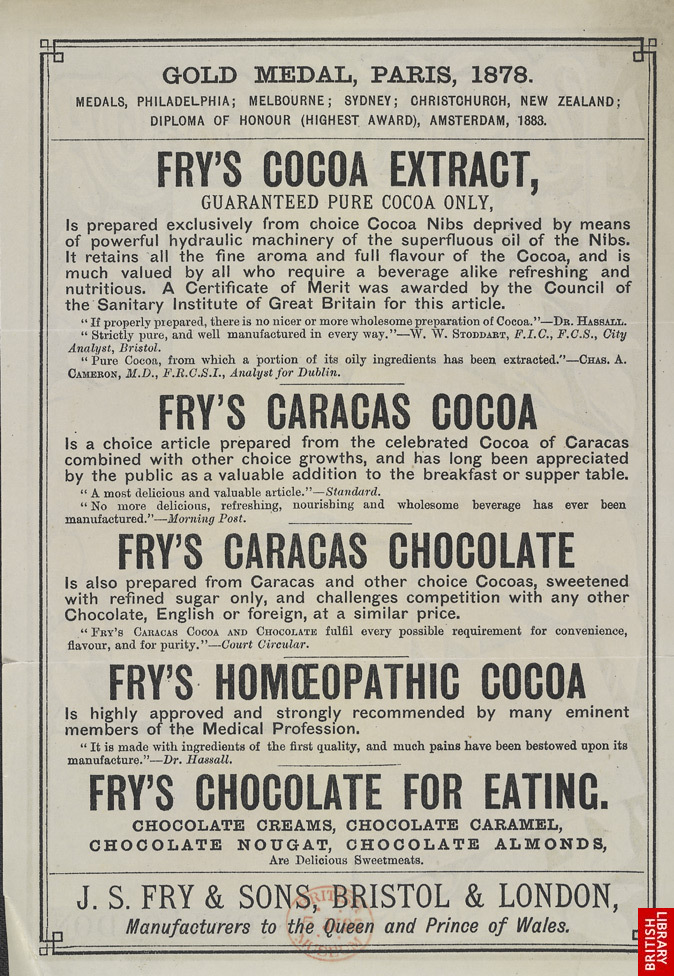 Advertisement for cocoa products manufactured by J S Fry & Sons reverse
